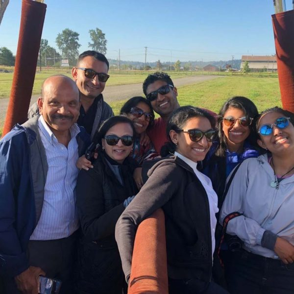 Group of passengers ready to launch in the hot air balloon